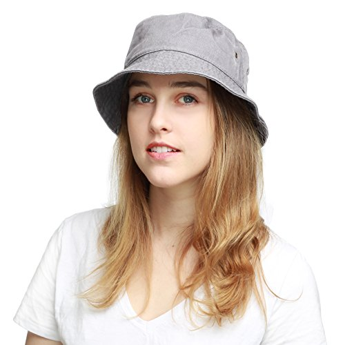 The Hat Depot 300N Unisex 100% Cotton Packable Summer Travel Bucket Hat (L/XL, Grey)