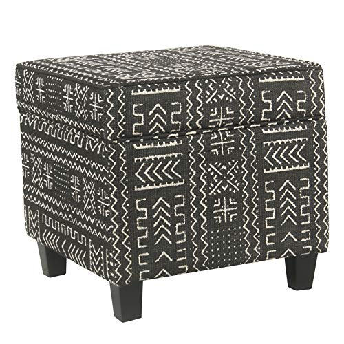 HomePop Square Storage Ottoman with Lift Off Lid, Onyx ()
