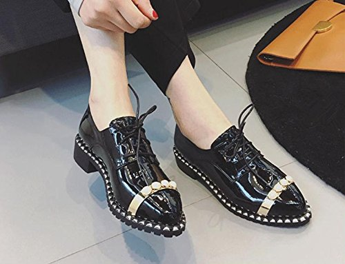 spring Black shoes British female help pearl new wind shoes single low wild 2017 small to shoes aZwpx5qHP