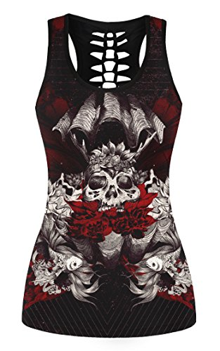 FISACE Women's Skull Print Hollow Out T-shirt Crew Neck Sleeveless Plus Size Tank Top – Small, Red 01
