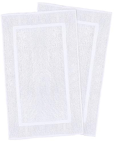 Utopia Towels 21Inchby34Inch Washable Cotton Banded Bath Mat 2 Pack White
