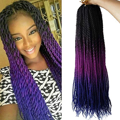 Ombre Senegalese Twist Crochet Braids 24 inch 6packs Small Havana Mambo Synthetic Braiding Hair Extensions long Senegalese Twists Hairstyles For Black Women 30strands/pack by Flyteng