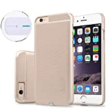 TJS® For Apple iPhone 6/6S 4.7'' QI Wireless Charger Charging Receiver Case, Nillkin® [Magic Case] Charging Receiver Back Case(Gold) + Nillkin® [Magic Disk II] Ultra Slim QI Standard Charger Pad(White)