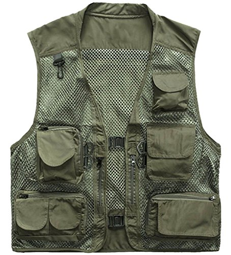 (Outdoor Quick-Dry Fishing Vest; Marsway Multi Pockets Mesh Vest Fishing Hunting Waistcoat Travel Photography Jackets Green Medium)