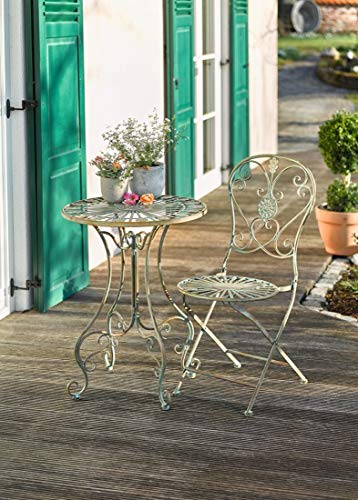 PierSurplus Metal Bistro Table w Curved Legs, Scrolling Heart Peacock Tail Motif Product SKU PF223587