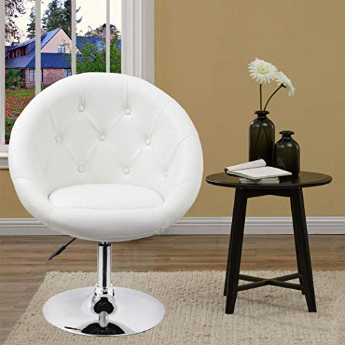 Duhome Elegant Contemporary Vanity Accent Lounge Chair Tufted Round Back Adjustable Swivel Cocktail Chair Synthetic Leather WY-509A White