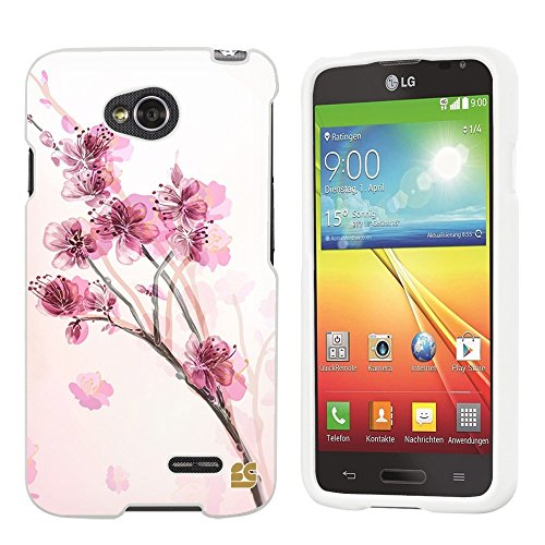 Spots8® for LG Optimus Exceed 2/Realm L70/LS620, Glossy Image Graphic Designs 2 Piece Snap On Images Cellphone Cell Phone Hard Protective Case Cover - Chinese Blossom Design