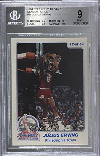 Julius Erving Graded BGS 9 MINT (Basketball Card) 1984 Star - All-Star Game - Denver Police #28
