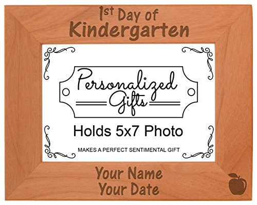 ThisWear Kindergarten Picture Frame 1st Day Kindergarten Gifts Kindergarten Natural Wood Engraved 5x7 Landscape Picture Frame Wood