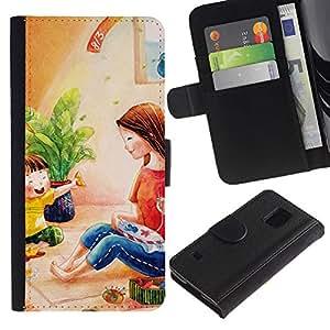 iKiki Tech / Cartera Funda Carcasa - Kids Girl Pastel Mother - Samsung Galaxy S5 SM-G900