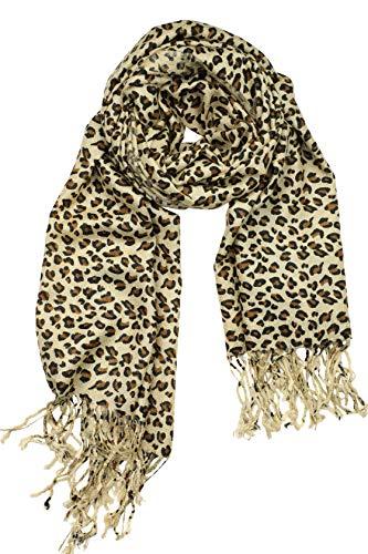Classic Animal Leopard Cheetah Print Fashion Scarf Shawl Wrap for Women (Tan Leopard)