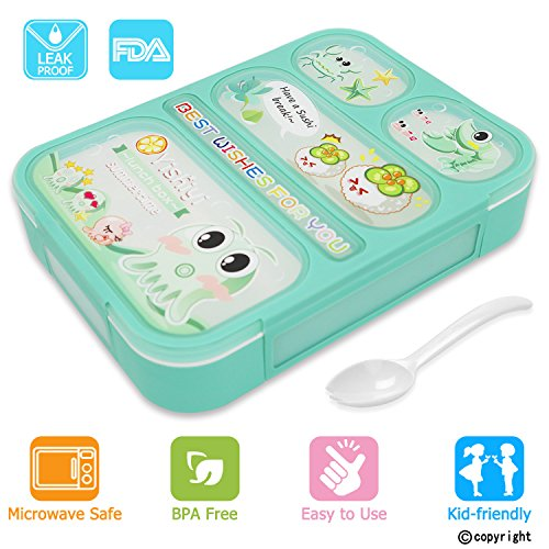 Leakproof Bento Lunch Box for Kids, FIOLOM 5 Compartments Divided Lunch Container Set with Spoon & Fork Cute Microwave Safe Meal Prep Box for Boys Girls Children School by FIOLOM