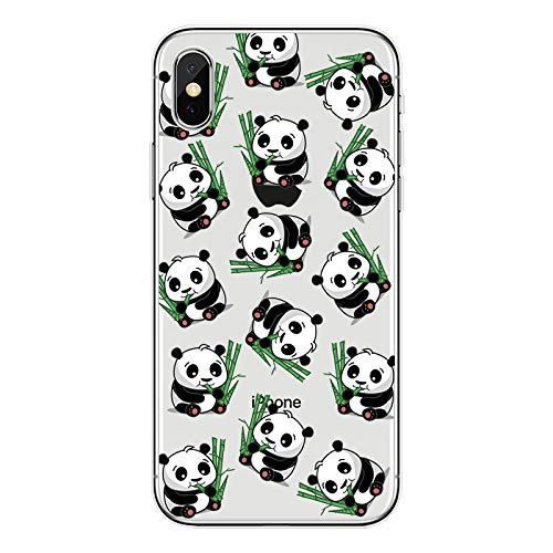 XYBW Rtoon Panda Case for Apple iPhone 7/8 Case Soft Back Cover Design Slim Flexible Protective Case Cover Gel Rubber Bumper for Girls, Lovely Pandas,9,iPhone7plus