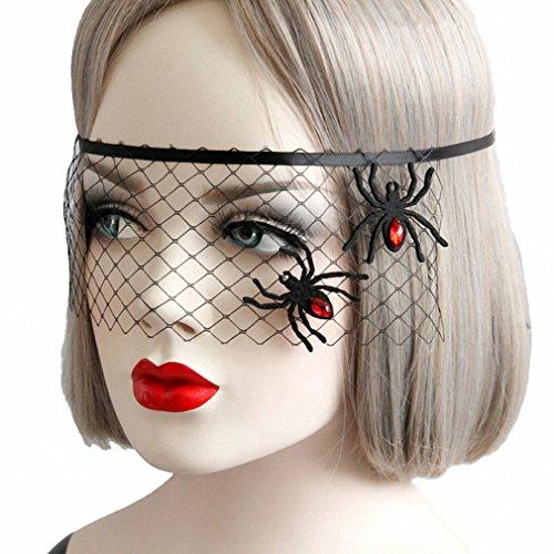 Spider Princess Costumes (Black Lace Veil Headdress Half Face Death Mask Halloween Party Costume COS Play Party Mask (spider princess mask))