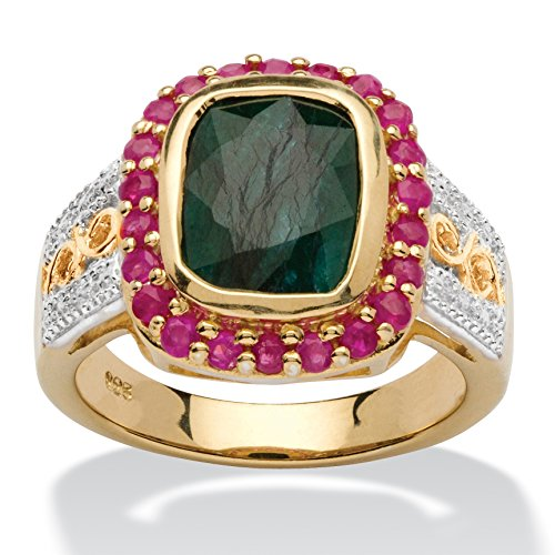 Genuine Green Emerald and Red Ruby 14k Gold over .925 Silver Two-Tone Halo Ring Size 9 ()