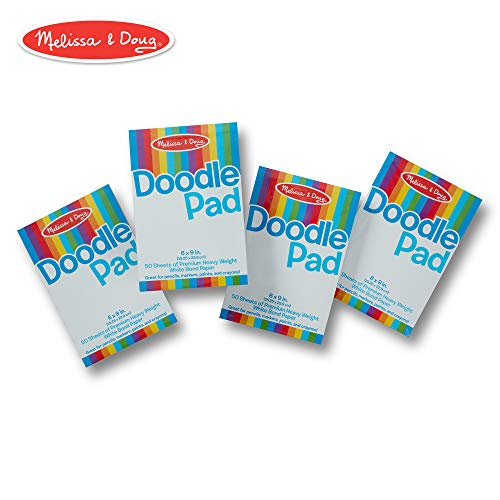 Melissa & Doug Drawing Paper Pad, 4-Pack of Compact Drawing Pads, Pages Tear Cleanly, 50 Sheets per Pack, 6 × 9 inches