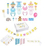 Gender Reveal Party Supplies - Baby Shower Decorations, Boy or Girl Gender Reveal Party Favors - Includes Mommy to Be Sash, Banner, Game Sheets, Clothespins, and Photo-Booth Props