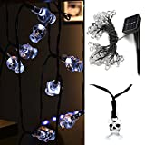 WEANAS Solar Powered White Skull Lights String, 20ft 30 LED Cool Party Lights with Remote, Decorative Lights for Indoor/Outdoor, Halloween, Surprising Gift