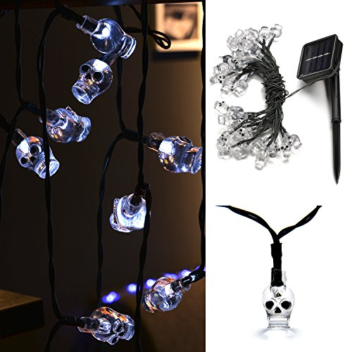 Weanas Solar Powered White Skull Lights String, 20ft 30 LED Cool Party Lights, Decorative Lights for Indoor/Outdoor, Halloween, Surprising Gift