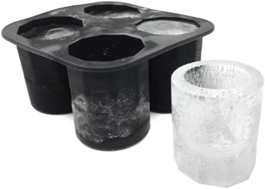 DAN 4 Forma de Taza Silicona Cubitos de Hielo Molde Tiradores Molde de Hielo Fiesta de Verano Bar Cerveza Accesorios para Bebidas de Hielo Bandeja de Cubitos de Hielo Herramientas, Negro