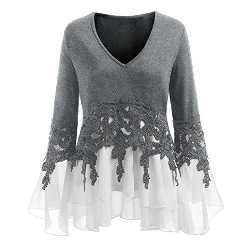 vermers Fashion Womens Tops Casual Applique Flowy Chiffon V-Neck Long Sleeve Blouse(XL, ()