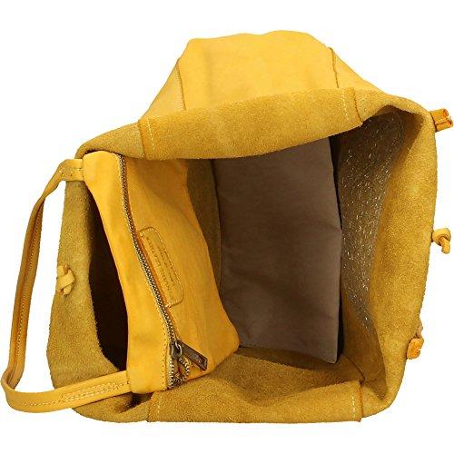 Bolso de hombro de la mujer Chicca Borse Vintage en Piel Genuina Made in Italy 28x36x11 Cm Amarillo