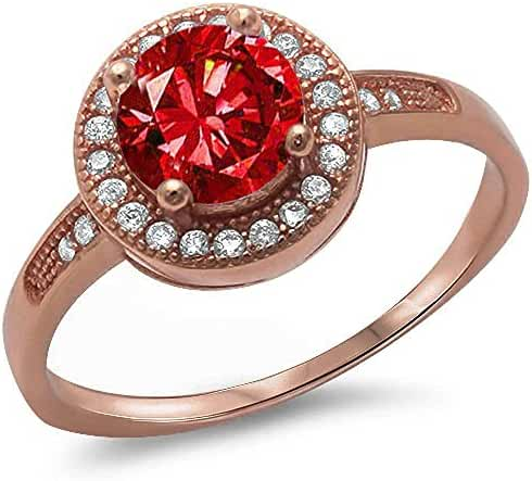 Halo Style Simulated Ruby & Cubic Zirconia .925 Sterling Silver Ring Sizes 4-12