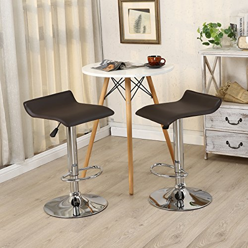 Allura Pair Bombo Chair Modern Bar Stools PU Leather Adjustable Hydraulic Swivel Seat Stool Pub Cafe Coffeehouse Kitchen Dinning Chair Barstool | Dark Brown