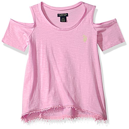 (U.S. Polo Assn. Girls' Big Short Sleeve Fashion T-Shirt, Cold Shoulder Coral Embro Magenta 14/16)