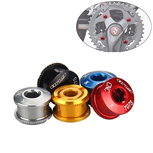 Gub Double/Triple Chainring Bolts Alloy Double Chainring Screw Nuts Extended Kit Set of 5 - Chainring Nut