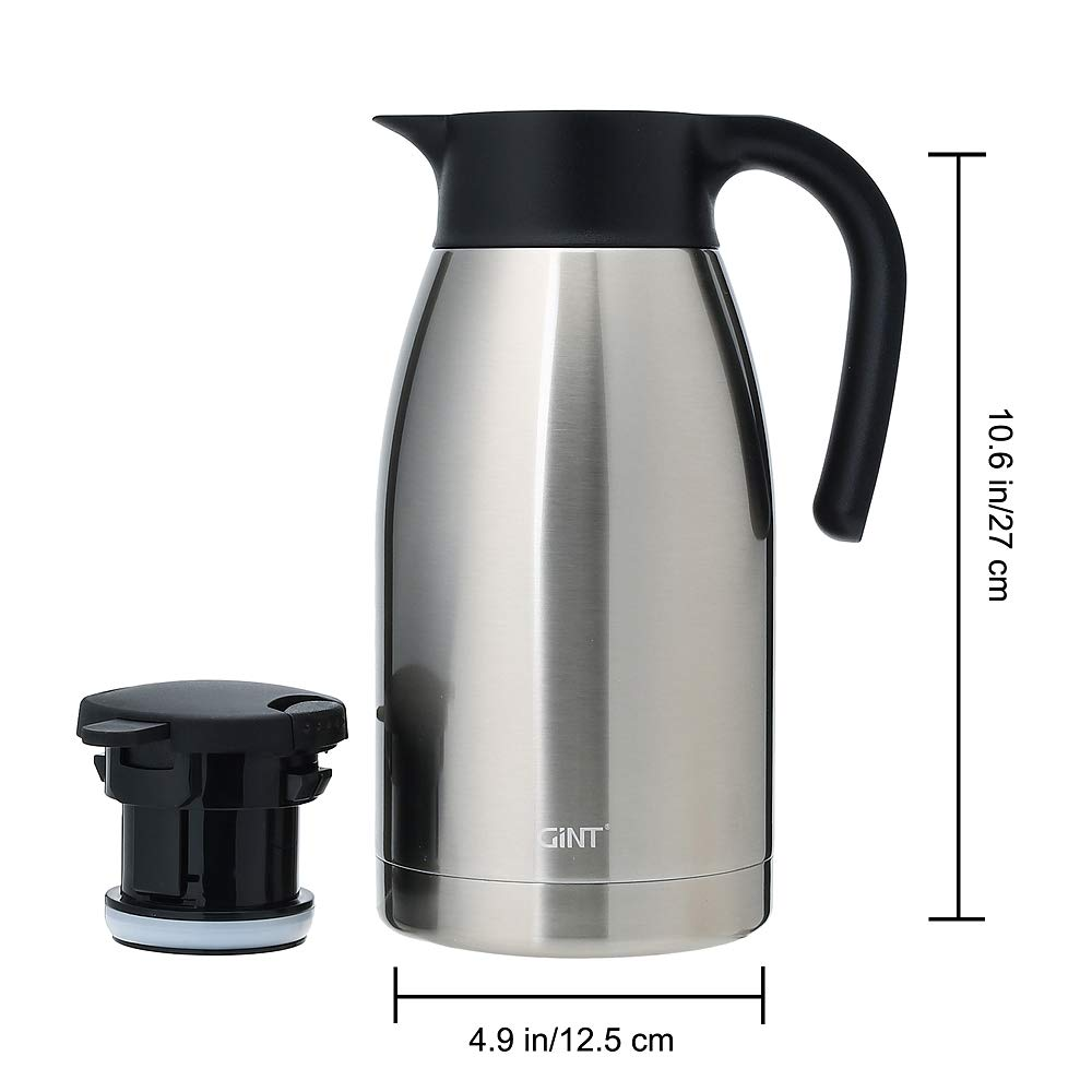 GiNT Stainless Steel Thermal Coffee Carafe with Lid/Double Walled Vacuum Thermos / 12 Hour Heat Retention,1.9L, Silver by GiNT (Image #2)