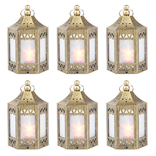 zkee Mini Star Lantern with Flickering LED,Battery Included,Decorative Hanging Lantern,Christmas Decorative Lantern,Indoor Candle Lantern,Battery Lantern Indoor Use, (Set of 6 Copper Brushed) by zkee