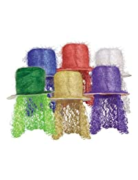 Beistle 1-Pack Tinsel Top Hat with Curly Wig