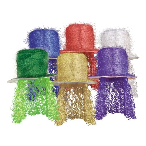 Mardi Gras Tinsel Wig (Tinsel Top Hat w/Curly Wig (asstd colors) Party Accessory  (1 count) (1/Pkg))