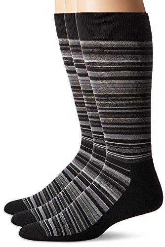 HUE Men's Multistripe Sock with Half Cushion, 3 Pair Pack, Black Grey, Size:10-13/Shoe Size: 6-12