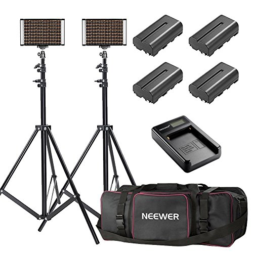 Neewer 2-Pack Bi-color Dimmable 280 LED Video Light and Stand Lighting Kit with Battery, USB Charger and Carrying Bag - 3200-5600K,CRI 95+ LED Panel for Camera Photo Studio, YouTube Video Shooting by Neewer