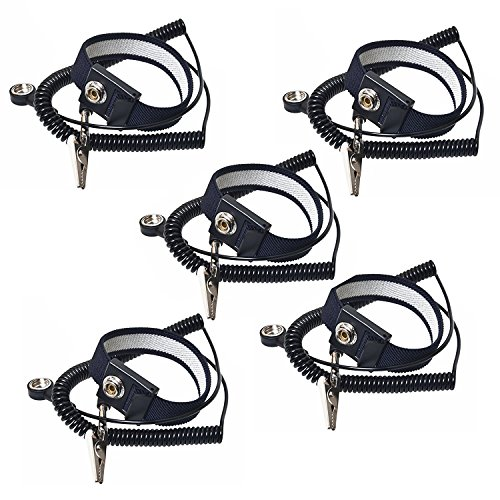 - Calunce 2.5M Reusable Anti-Static Wrist Straps equipped with PU Grounding Wire and Alligator Clip ,Black (5pcs)