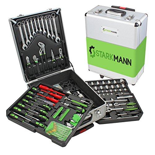 STARKMANN Greenline Premium Werkzeugset im abschließbaren Trolleykoffer 225 Teile Steckschlüssel