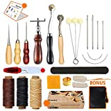 Leather Sewing Tools SIMPZIA 25 Pieces Leather Tools Craft DIY Hand Stitching Kit with Groover Awl Waxed Thimble Thread for Sewing Leather, Canvas or Other Leathercraft Projects