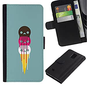 KingStore / Leather Etui en cuir / Samsung Galaxy Note 4 IV / Helado lindo de los cráneos