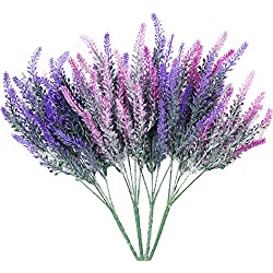 DiDaDi 4 Pcs Artificial Flowers Flocked Lavender Bouquet Romantic Fake Lavender Bunch in Purple Artificial Plant for Home Wedding Garden Decor(Mixed)