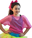1980s-Fame-Stag-Hen-Fancy Dress-Dance-Disco-Retro-Street-Madonna-Pop NEON MESH TOP Available in 4 colours (Pink Top)