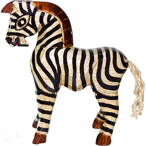 Zebra Wooden Home Decor Sculpture, Handmade, Hand carved, Hand Painted Statue by Artisan Talent, Unique, Safari Animal Housewarming - House Artisan Wall Sculptures