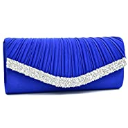 Woman Rhinestone Evening Bag Clutch Purse Crystal Pleated Satin Party Handbag