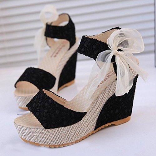 Elegant Offen Sandalen Wedge Peep Sommerschuhe Weiß Toe Plateau Keilabsatz Ansenesna Damen Für Schwarz Schwarz Mädchen Hochzeit Sommer Schuhe Od0vw4