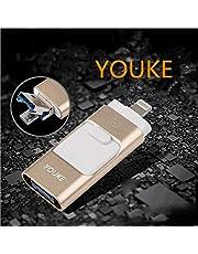 Flash Drive 3 in 1 di 32 GB per IOS/Android, lega OTG USB/Micro USB Scheda di Memoria Esterna Flash Pen Drive U Disk per iPhone/iPad/iPod/Mac/Cellulare Android e PC(d'oro)
