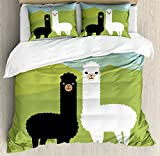 Ambesonne Llama Duvet Cover Set Queen Size, Alpacas in Love in the Mountains Fauna Valentine's Animals with Contrasting Colors, Decorative 3 Piece Bedding Set with 2 Pillow Shams, Multicolor,