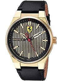Scuderia Ferrari Men's 'SPECIALE 3H' Quartz Gold-Tone and Leather Casual Watch, Color:Black (Model: 0830415)