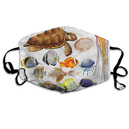Aquarium Fashion Mouth Mask Tortoise Jellyfish Fishes for Cycling Camping Travel W4
