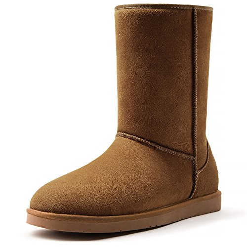 AOMAIS Women's Short Winter Boot Mid Calf Cow Suede Leather Slip-On Snow Boots For Outdoor Indoor by AOMAIS
